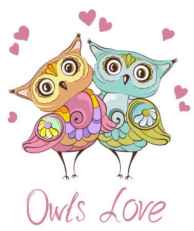 鳥が大好きです。かわいいフクロウのカップルとグリーティング カード。ベクトル手描き下ろしイラスト