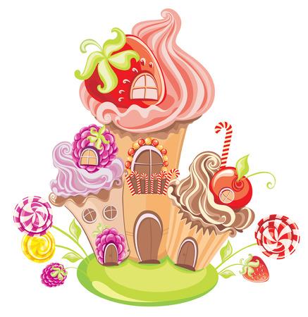 Vector ilustración de fantasía dulce casa de tortas, dulces y bayas aislados en un fondo blanco Vectores