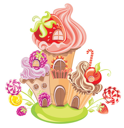 Vector illustration of fantasy sweet house of cakes, candy and berries isolated on a white background
