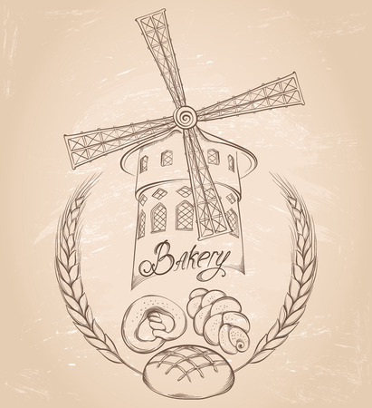 Retro bakery background. Vector hand drawn illustration of a mill on on vintage grunge background. Labels or pack for bread and bakery. Illustration