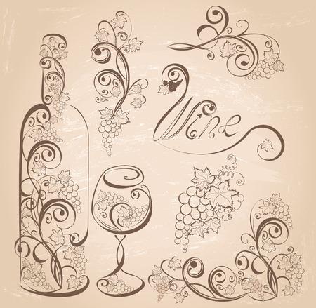 Elementi di design vino vettoriale. Bottiglia e bicchiere di vino con le vigne sulla priorità bassa del grunge dell'annata. Archivio Fotografico - 37313302