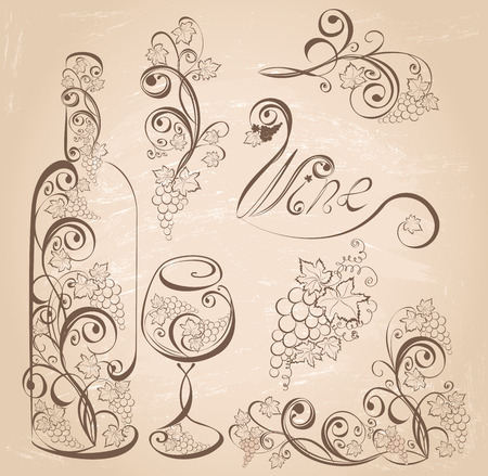 Vector wine design elements. Wine bottle and wineglass with grapevines on vintage grunge background . Çizim
