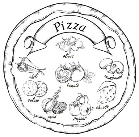 pizza ingredients: Pizza with set of pizza ingredients and banner for design menu. Vintage fast food background. Hand drawn illustration