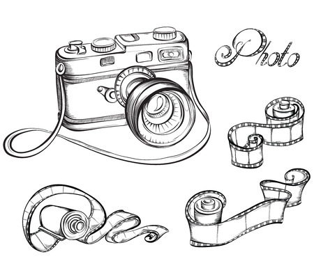 Collection of Film strip roll and retro camera. Hand drawn vector illustration. Ilustração