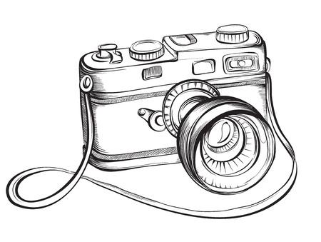 Schets vintage retro fotocamera. Vector hand getrokken illustratie