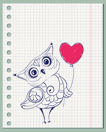 Hand drawn owl on paper page. Vector illustration. Vector