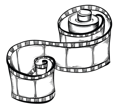 Film strip. Vector hand drawn illustration Vector