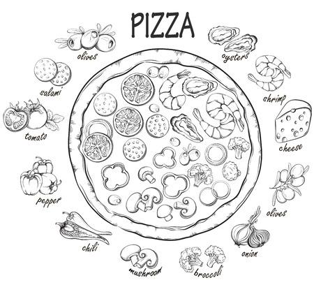 Pizza with set of pizza ingredients for design menu. Vintage fast food background. Hand drawn illustration 일러스트