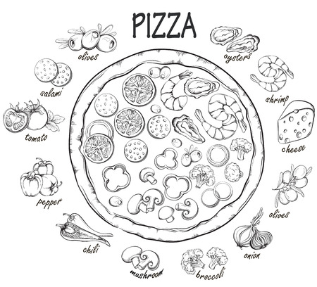 pizza ingredients: Pizza with set of pizza ingredients for design menu. Vintage fast food background. Hand drawn illustration Illustration