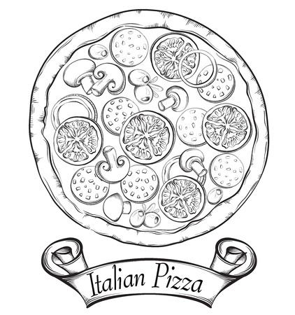 Italian Pizza with banner for design menu. Vintage fast food background. Hand drawn illustration