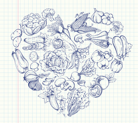Icons of various vegetables in the form of heart shape. Outline image on notebook page background. Vector hand drawn illustration of vegetables in retro style
