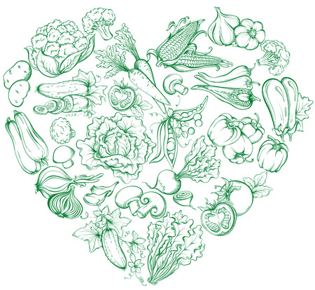 Icons of various vegetables in the form of heart shape.  Vector hand drawn illustration of vegetables in retro style