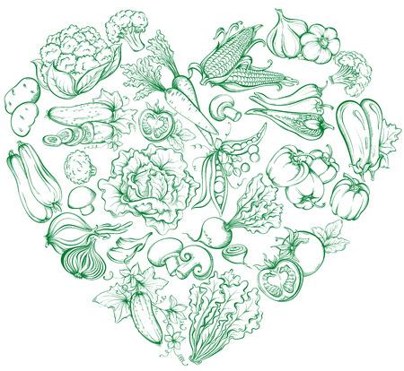 Iconen van Vaus groenten in de vorm van een hart vorm. Vector hand getrokken illustratie van groenten in retro-stijl Stock Illustratie