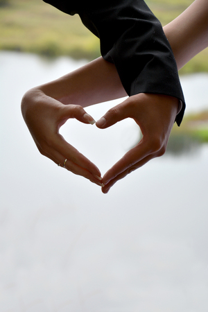 two hands: Silhouette of two hands of the bride and groom in a heart shape