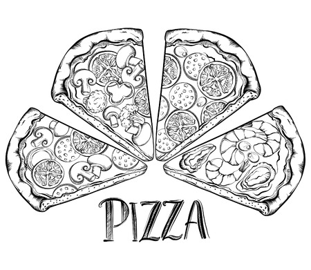 mozzarella cheese: Poster with hand drawn slice of pizza. Design a menu stylized drawing. Vector Illustration