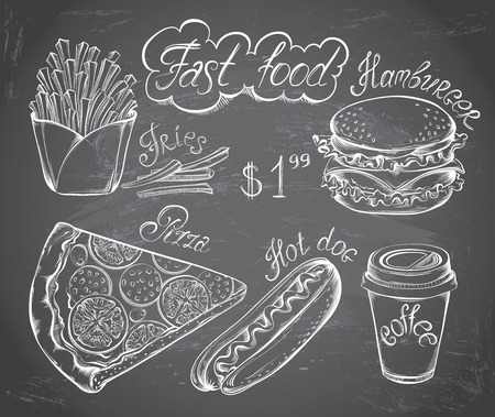 Vector hand drawn set of Retro Fast Food Menu on chalkboard in vintage style. Pizza, burger, hot dog, drink, french fries