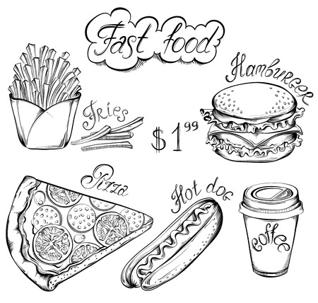 Vector hand drawn set of Retro Fast Food Menu in vintage style. Pizza, burger, hot dog, drink, french fries Illustration