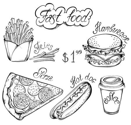 comida rapida: vector dibujado a mano conjunto de retro menú de comida rápida en el estilo vintage. Pizza, hamburguesa, perrito caliente, bebida, patatas fritas Vectores