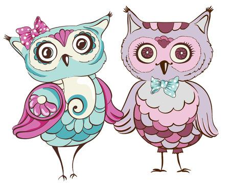Pájaros del amor. Tarjeta de felicitación con los búhos lindos pareja. Ilustración del vector dibujado a mano