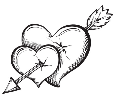 pierced: Two hearts pierced by an arrow. Hand drawn sketch style, vector illustration.