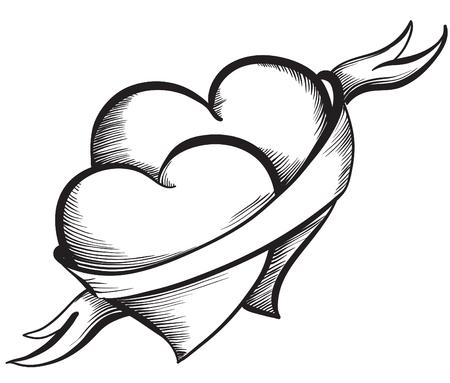 Dos corazones de San Valentín juntos atado cinta. estilo del bosquejo dibujado a mano, ilustración vectorial blanco y negro.