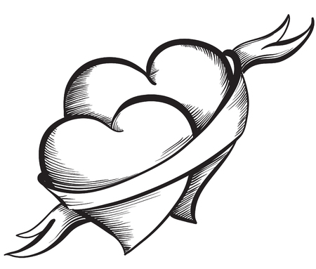 Two Valentine Hearts together tied ribbon. Hand drawn sketch style, black and white vector illustration.