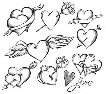 バレンタイン ハートのセット。手描きスケッチ スタイル、黒と白のベクトル図。
