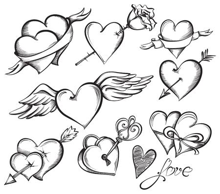drawing arrow: Set of Valentines hearts. Hand drawn sketch style, black and white vector illustration.