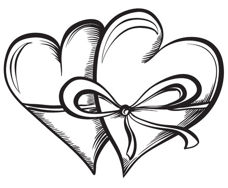 two hearts together: Two Valentine Hearts together tied ribbon. Hand drawn sketch style, black and white vector illustration.
