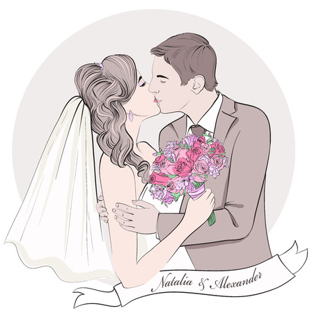 Wedding couple kiss, bride and groom. Hand drawn vector illustration.