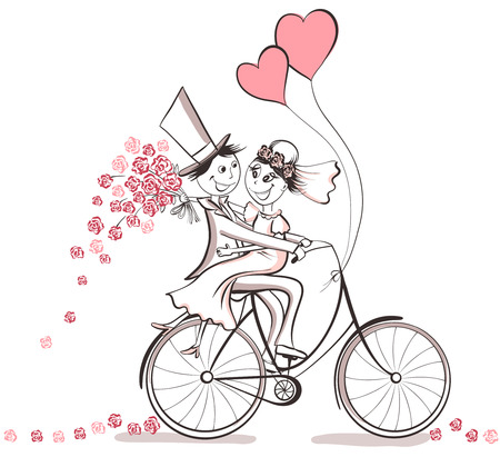 Just married. Hand drawn wedding couple in love on bicycle. Cute cartoon vector illustration