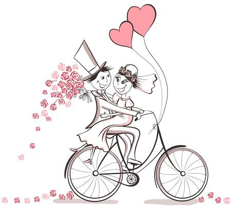 Net getrouwd. Hand getrokken huwelijkspaar in liefde op de fiets. Cute cartoon vector illustratie