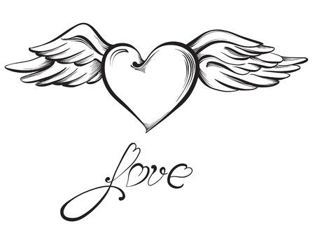 hand heart: Valentine heart. Hand drawn sketch style, vector illustration.