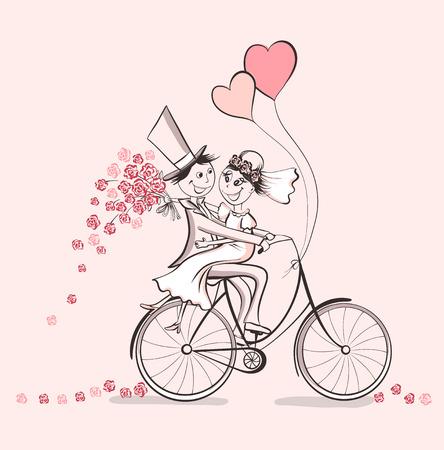 ちょうど結婚しました。自転車の愛に手描きの結婚式のカップル。かわいい漫画のベクトル図  イラスト・ベクター素材