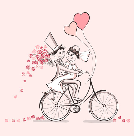 Just married. Hand drawn wedding couple in love on bicycle. Cute cartoon vector illustration Stock Illustratie
