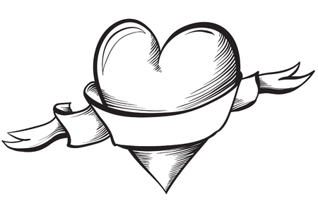 heart hand: Valentine heart. Hand drawn sketch style, vector illustration.