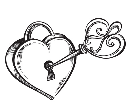 Valentine heart. Key lock in the shape of a heart. Hand drawn sketch style, vector illustration. Çizim