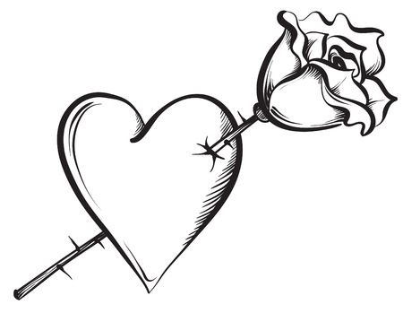white heart: Valentine heart with a rose. Hand drawn sketch style, vector illustration. Illustration