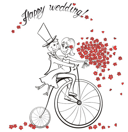 cartoon bouquet: Just married. Hand drawn wedding couple in love on bicycle. Cute cartoon vector illustration Illustration