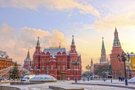 moscow: State Historical Museum on Red Square in winter. Moscow, Russia
