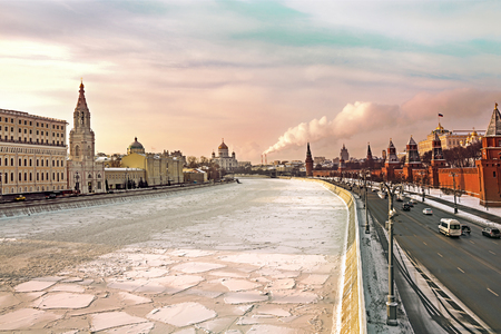 View on Moscow river and Moscow Kremlin in winter. Moscow, Russia