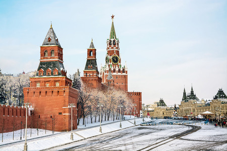 Moscow, Russia, Red Square, GUM and Kremlin towers in winter