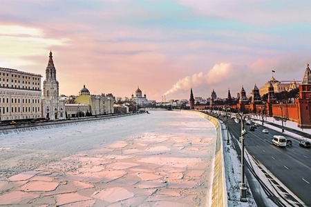 moscow: View on Moscow river and Moscow Kremlin in winter. Moscow, Russia