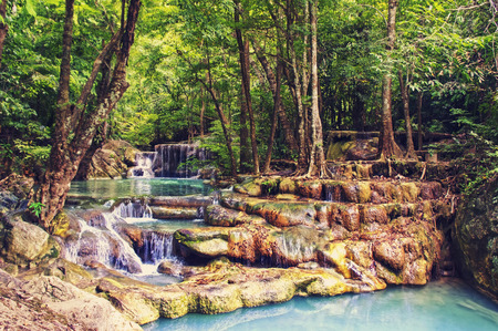 tropical forest: Waterfall in tropical forest. Waterfall in National Park Kanchanaburi, Thailand