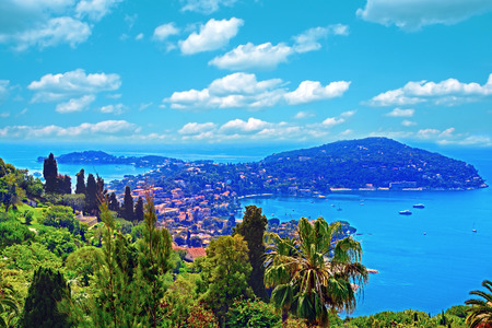 villefranche sur mer: Cote dAzur France. View of luxury resort and bay of French riviera - Villefranche-sur-Mer is situated between Nice city and Monaco. Mediterranean Sea