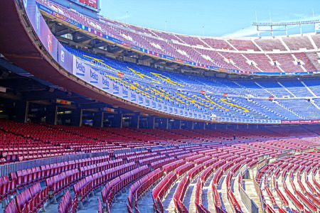 BARCELONA, SPAIN - JUNE 06, 2015: Panoramic view of FC Barcelona, football stadium Camp Nou in Barcelona, Spain. It is the largest stadium in Europe