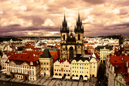 praha: View of the Tyn Church in Prague, Czech Republic
