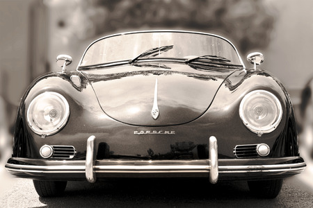 NICE, FRANCE - JUNE 3, 2015: Porsche- luxury vintage sports car at the city street. Retro  style - sepia 報道画像