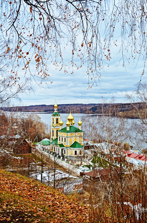 the volga river: Autumn view of Volga river and orthodox church in old town Ples, Russia.