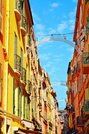 mediterranean homes: Traditional mediterranean narrow street with old colorful homes in Monaco